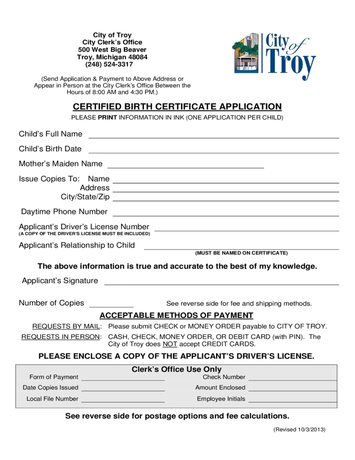 certified birth certification application