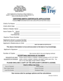 Certified Birth Certification Application - City of Troy