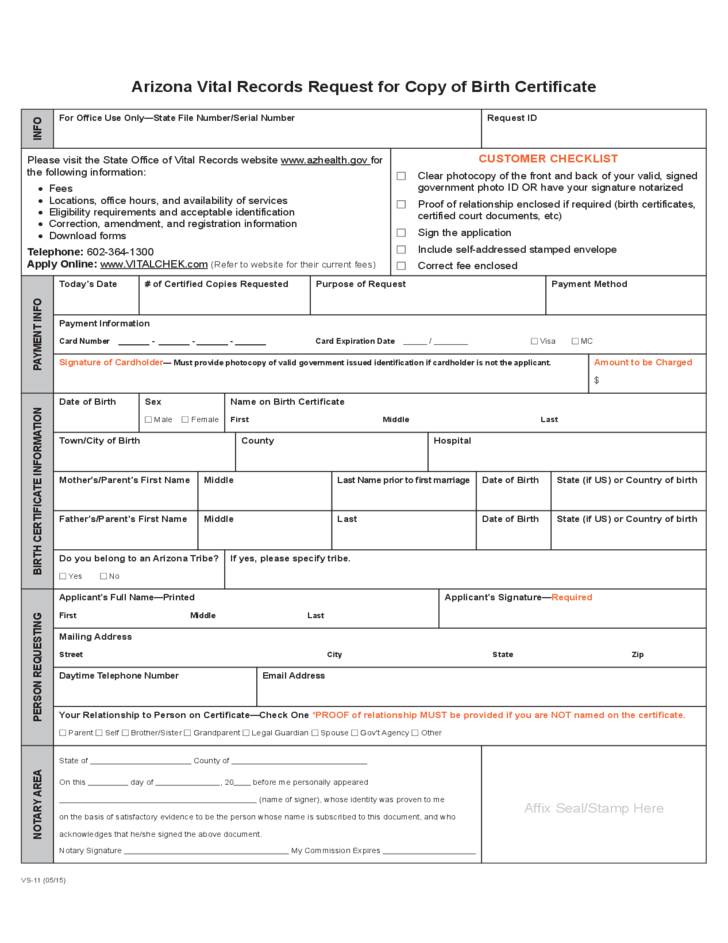 Vital Records Request For Copy Of Birth Certificate Arizona Free