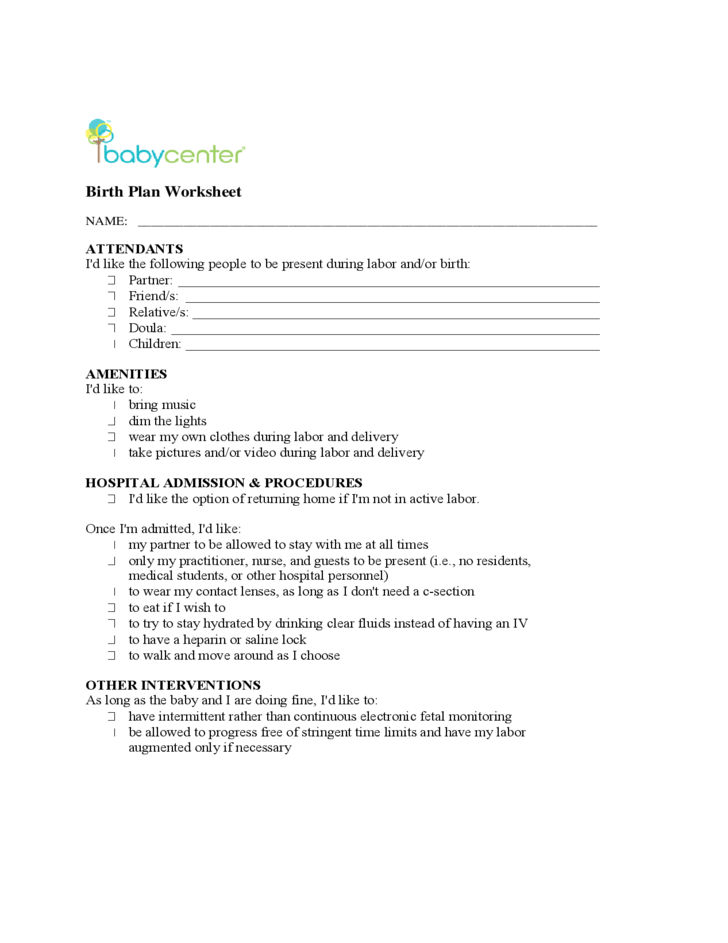 planned c section birth plan template - basic birth plan free download