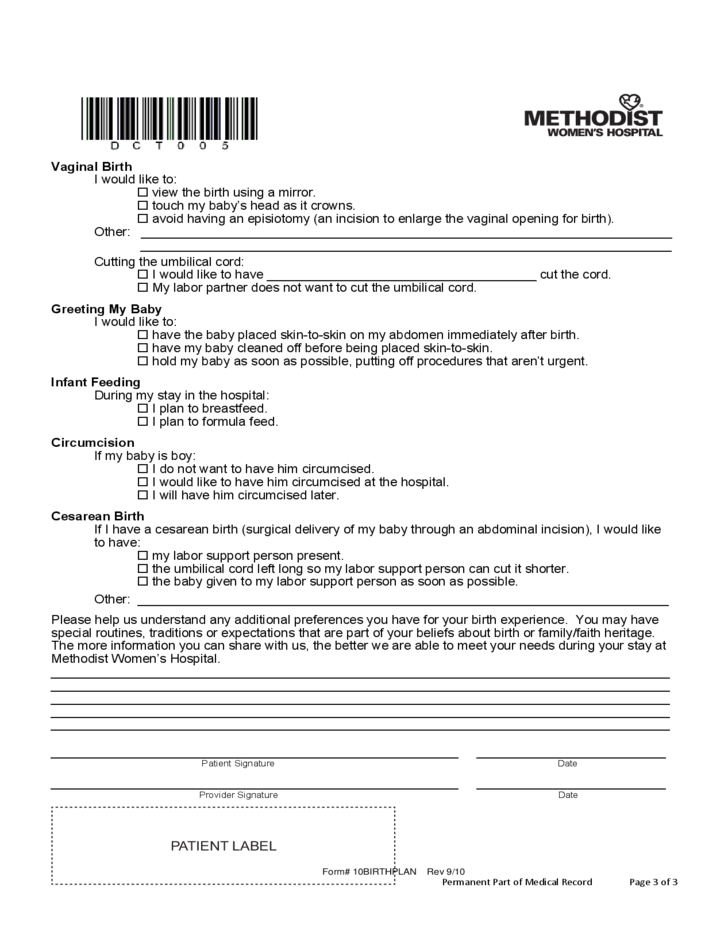 Fine birth plans templates pattern example resume and for Cesarean birth plan template
