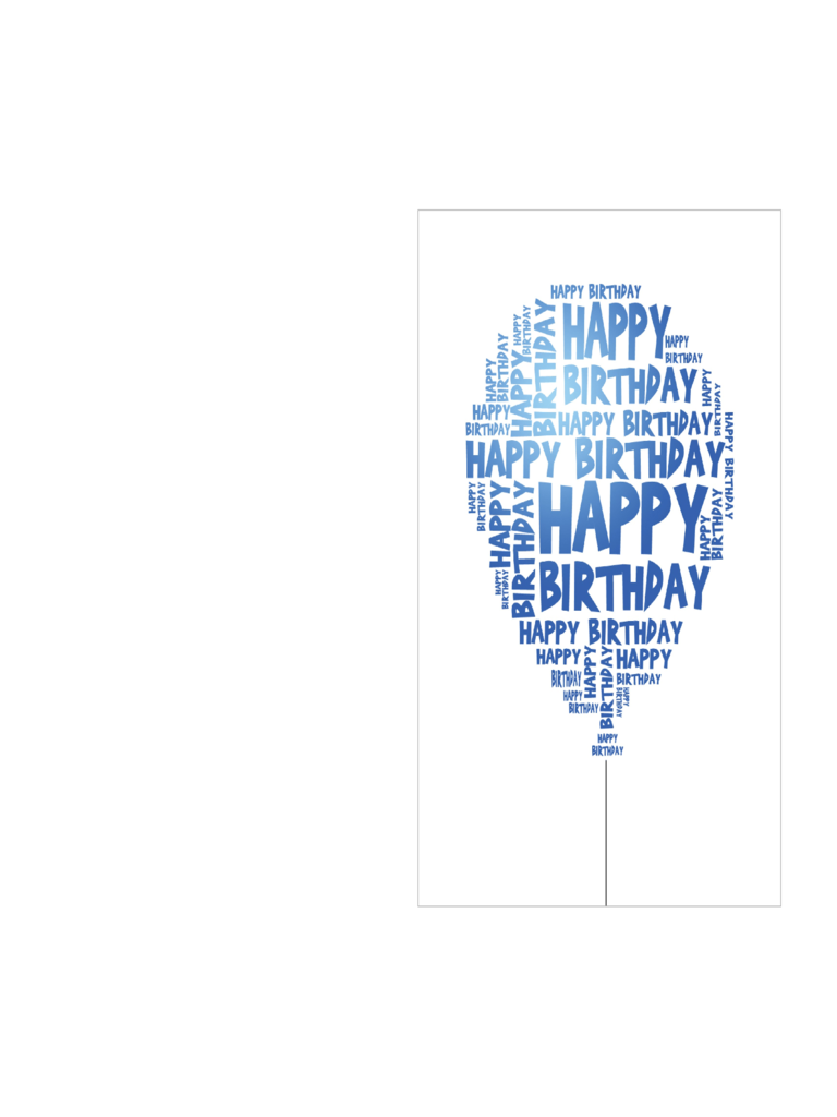 Birthday Card Template with Happy Birthday Balloon