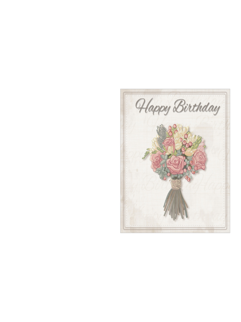 Birthday Card Template - Delicate Bouquet