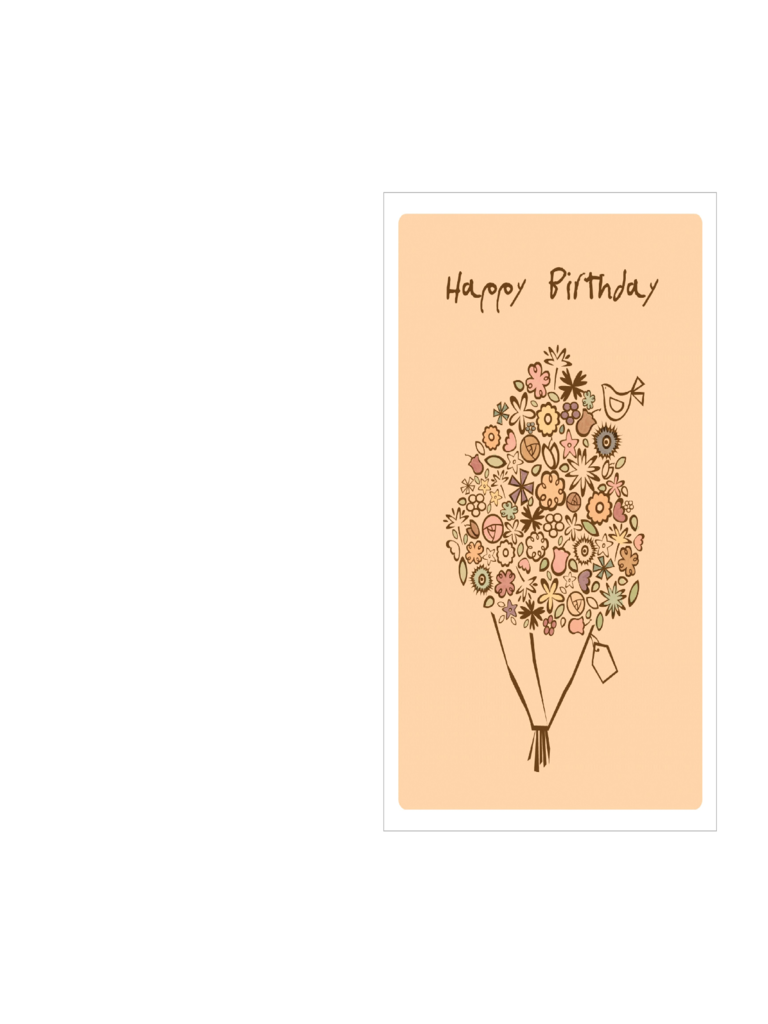 Birthday Card Template - Happy Birthday Bouquet