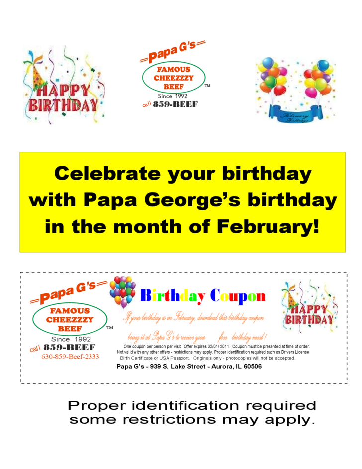 Examples of birthday farmhouse coupons