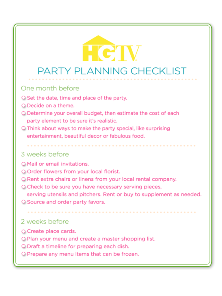 Birthday party checklist template 3 free templates in for Party menu planner template