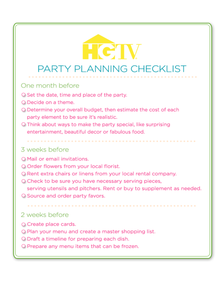 Party Planning Checklist L on letter s worksheets