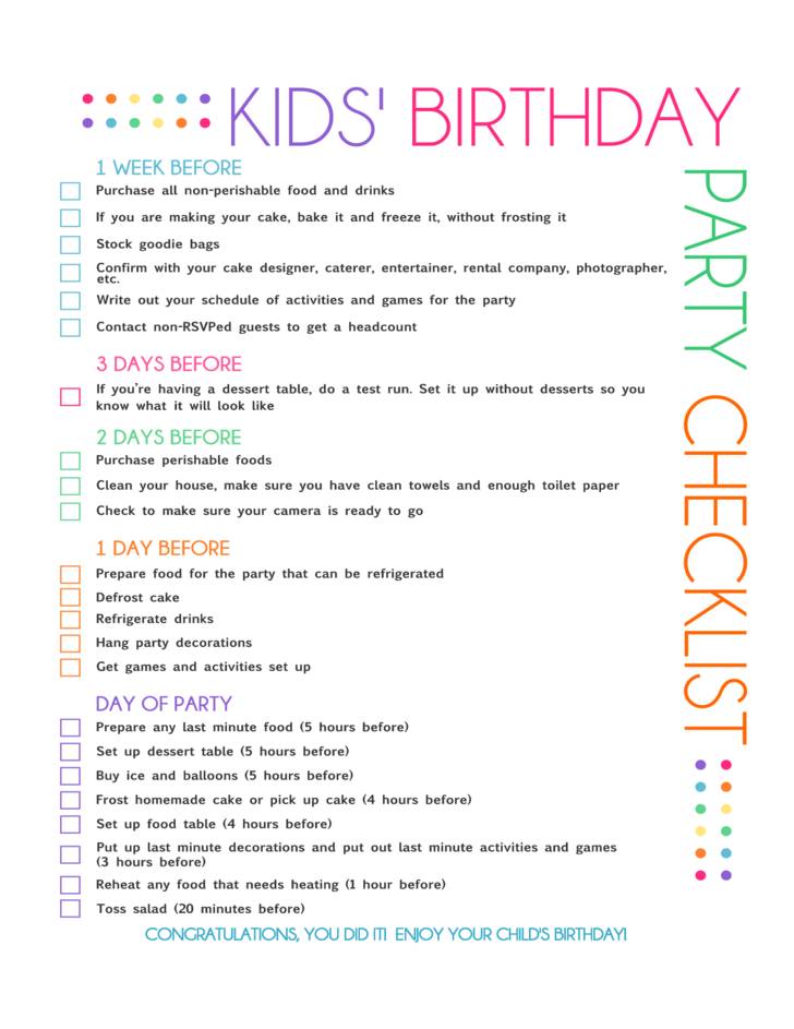Birthday Party Checklist Sample Free Download