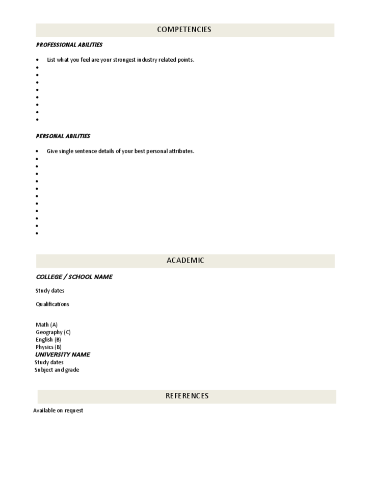 Blank Cv Template Professional Position Free Download