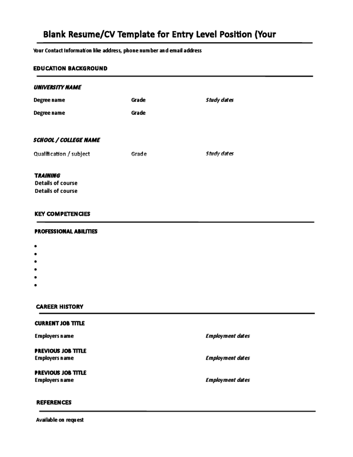 Blank CV Template Entry Level