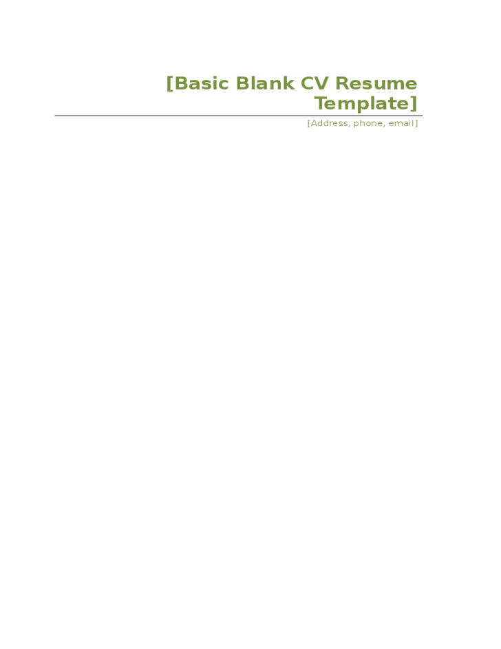 basic blank cv resume template free download