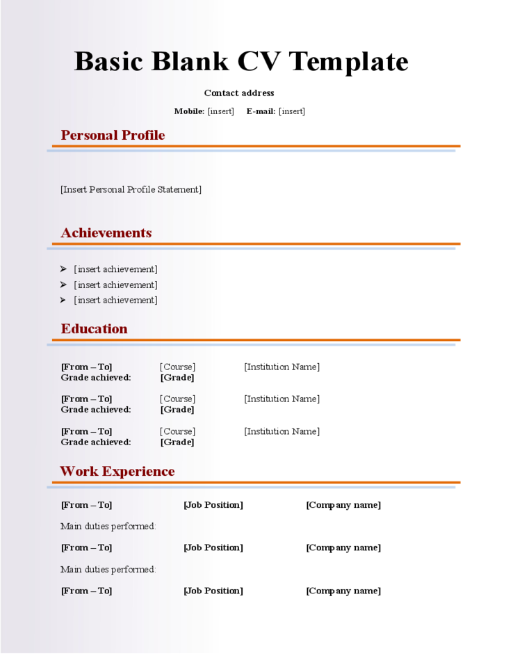 Basic Blank CV Resume Template For Fresher Free Download