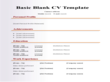 Basic Blank CV Resume Template For Fresher