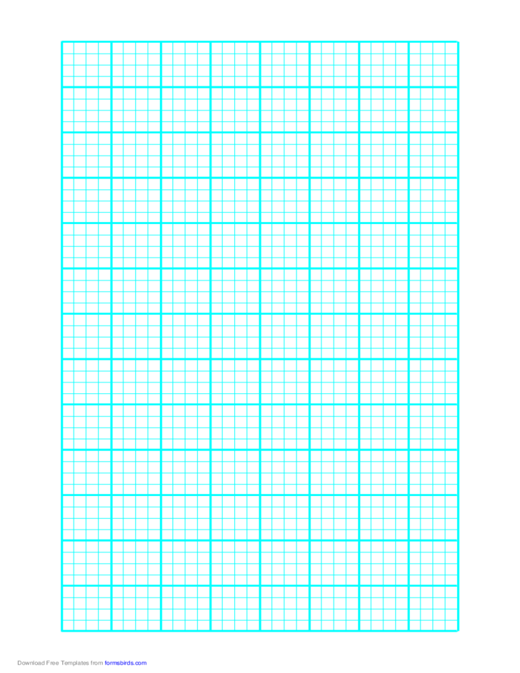 1 Line Every 5 mm Graph Paper on Letter-Sized Paper (Heavy Every 4th Line)