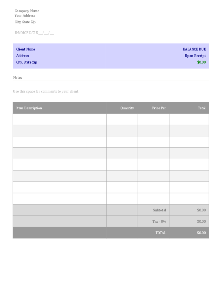 Blank Invoice Template 3 Free Templates In PDF Word Excel Download Generic Blank  Invoice Template D1  Plain Invoice Template