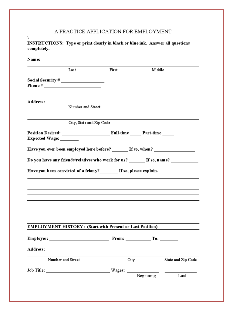 Blank Job Application Form 5 Free Templates in PDF Word Excel – Practice Job Application