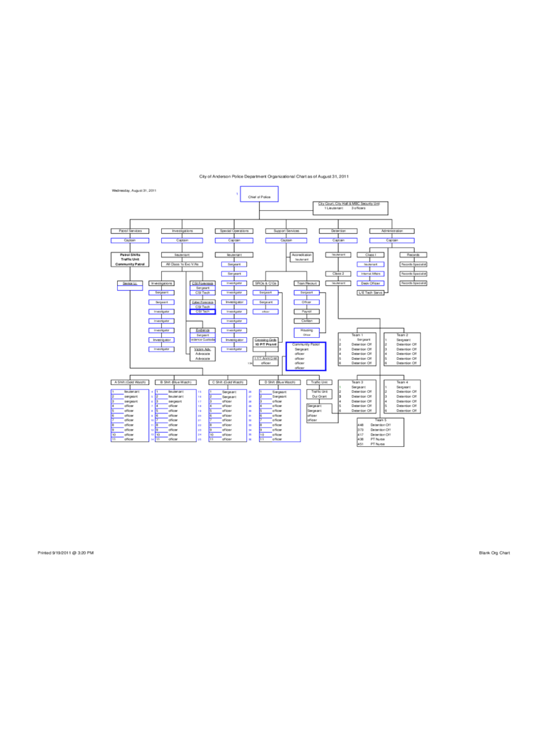 Blank Organizational Chart - Anderson Police Department
