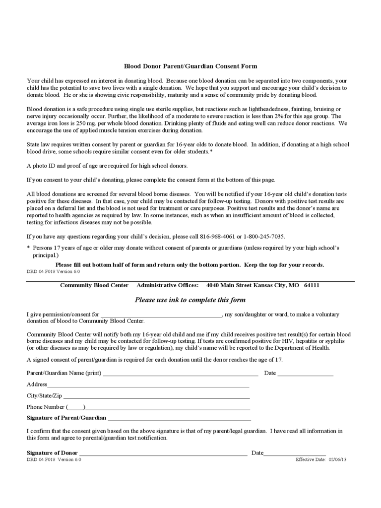 Blood Donor Parent/Guardian Consent Form - Kansas