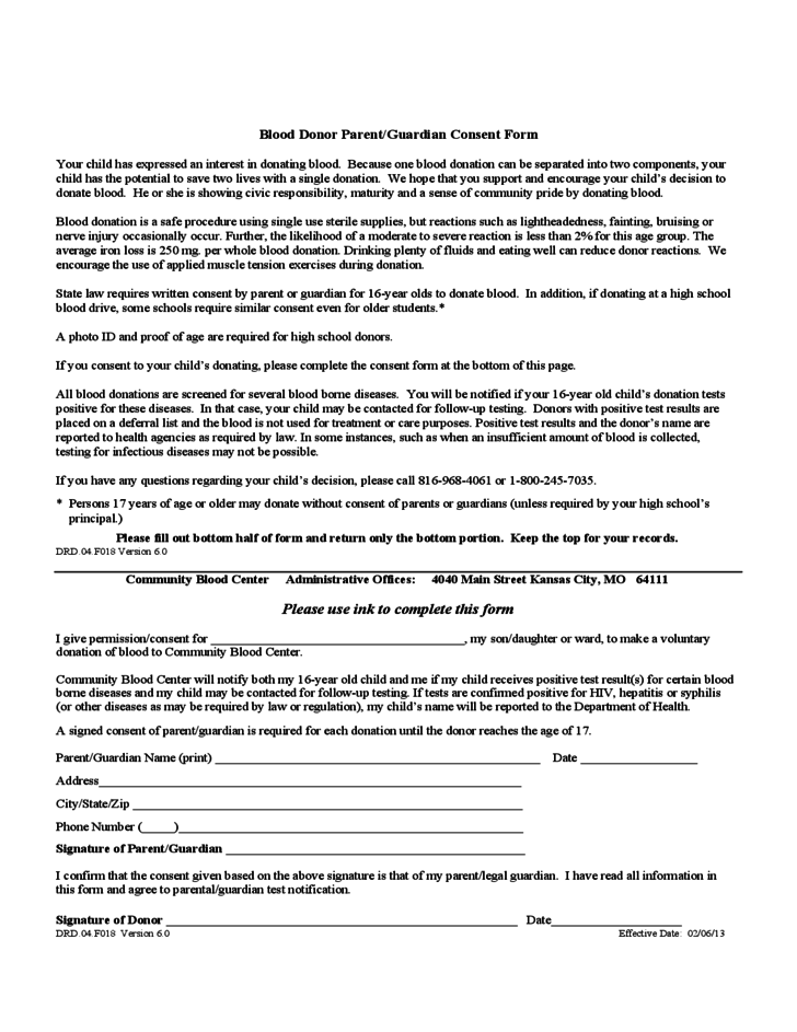 Blood Donor Parent/Guardian Consent Form - Kansas Free Download