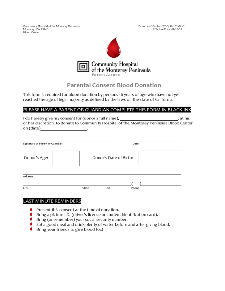 Parental Consent Blood Donation - California Free Download