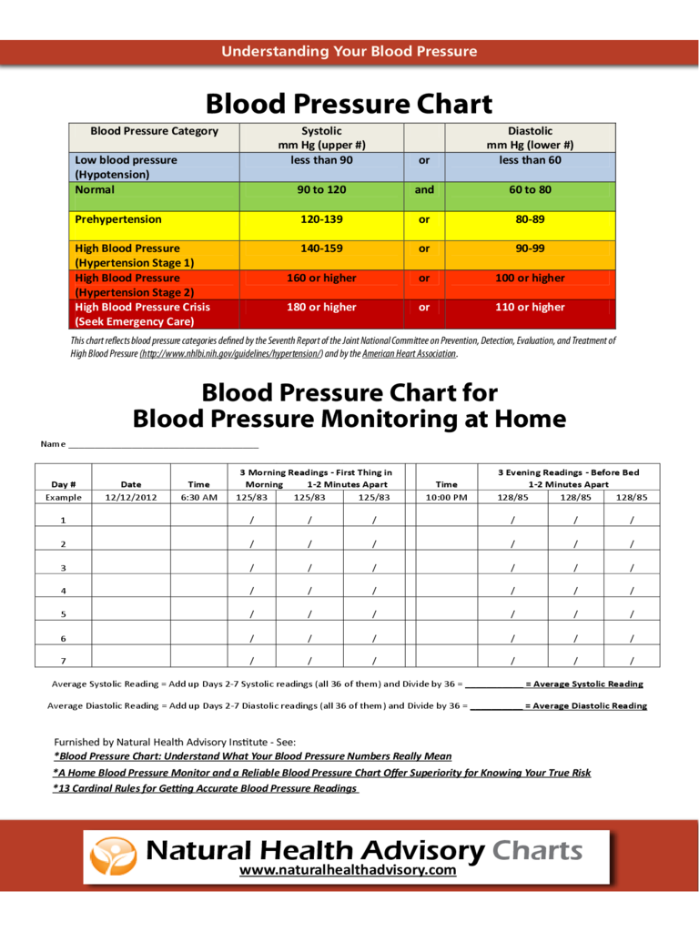 blood pressure record sheets