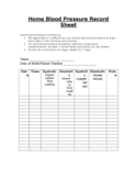 Home Blood Pressure Record Sheet Free Download