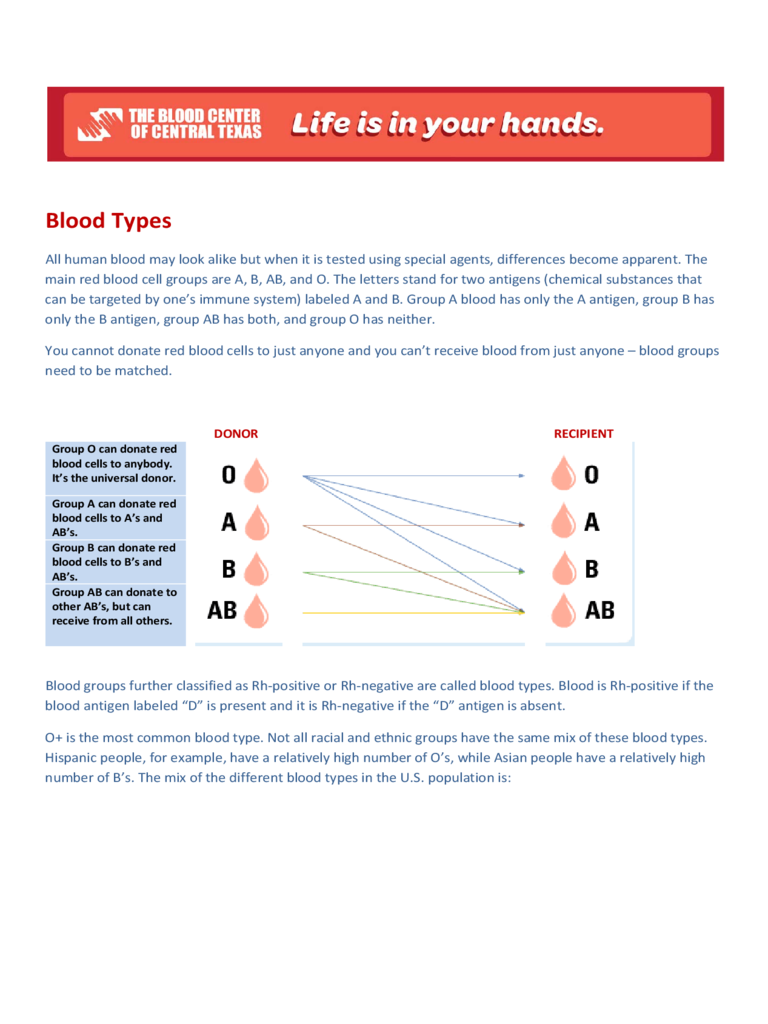 Blood Types Education Chart