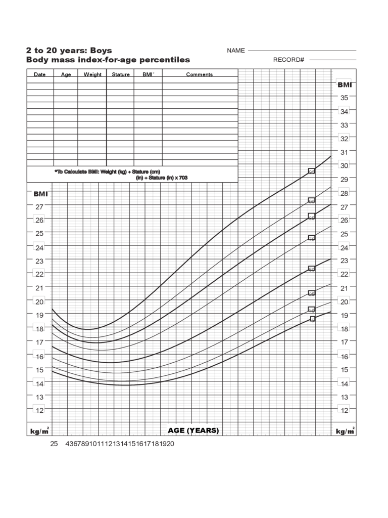 Body Mass Index Chart - 2 to 20 Years Boys