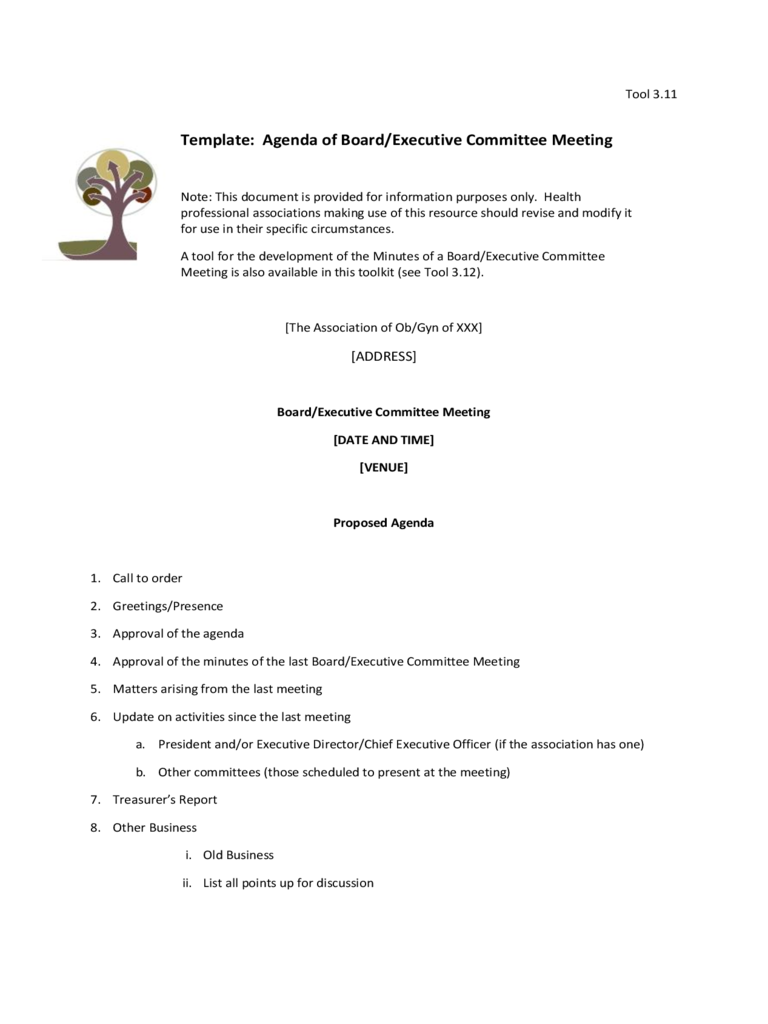 Template: Agenda of Board/Executive Committee Meeting