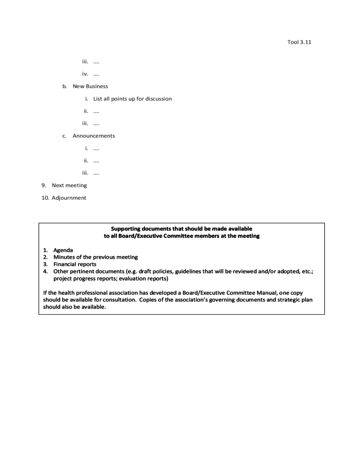 Template: Agenda of Board/Executive Committee Meeting Free Download