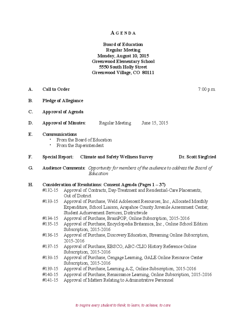 Board of Education Regular Meeting Agenda