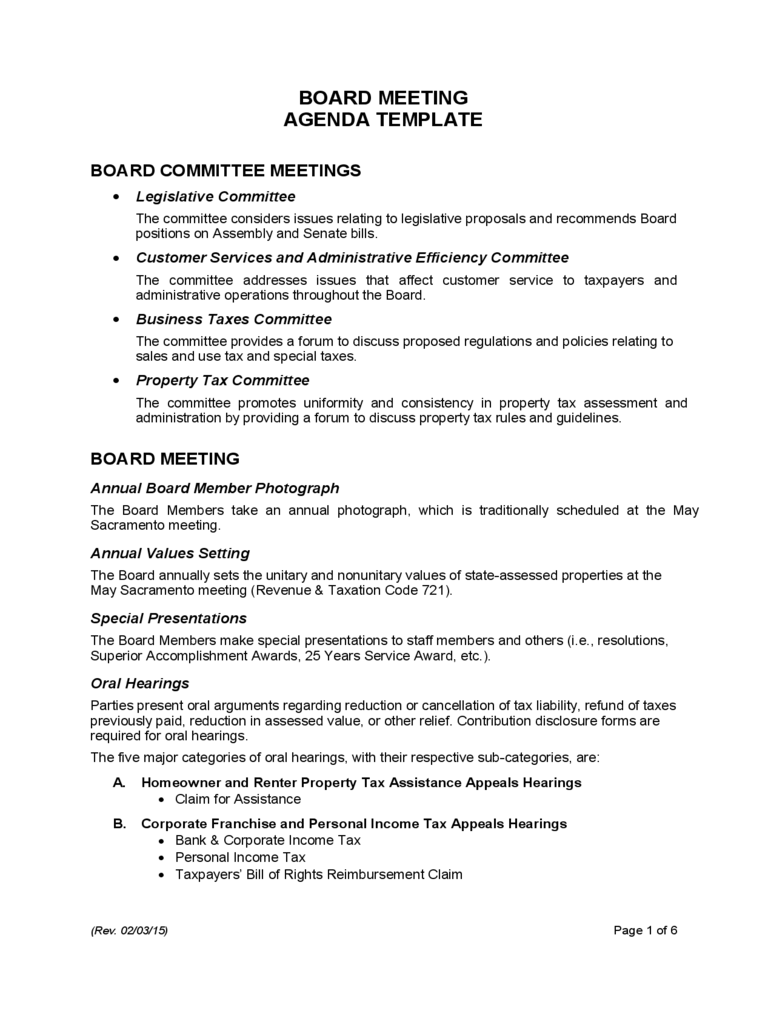 Board Meeting Agenda Template   California  Example Of Agenda For A Meeting