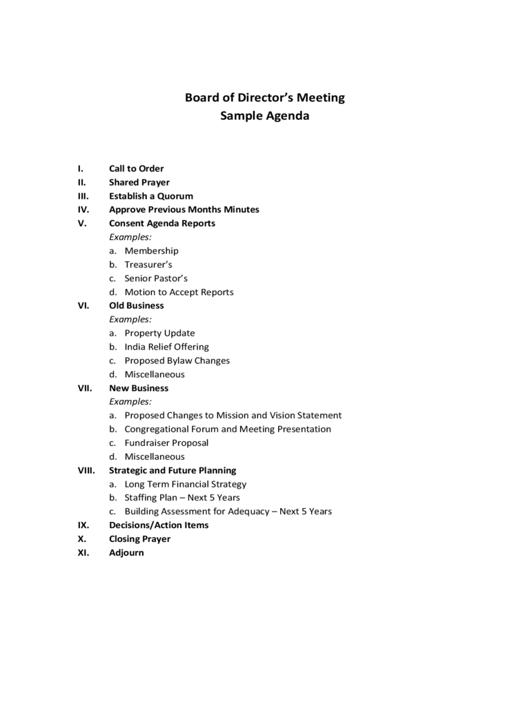 Board of Director's Meeting Sample Agenda