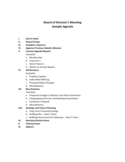 Board of Director's Meeting Sample Agenda Free Download
