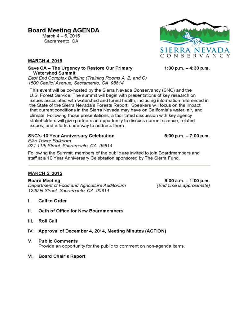 Board Meeting AGENDA - Sierra Nevada Conservancy