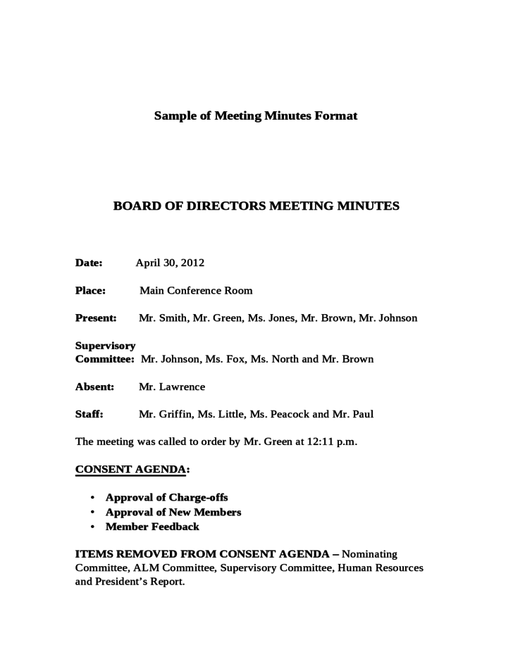 sample of meeting minutes format free download