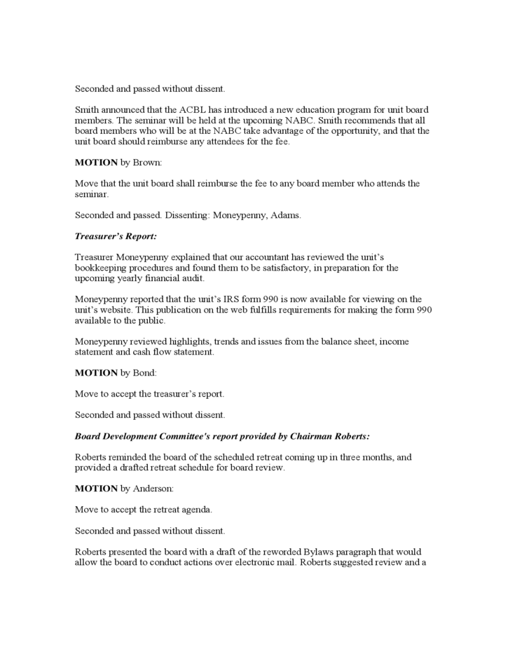 sample unit board meeting minutes free download