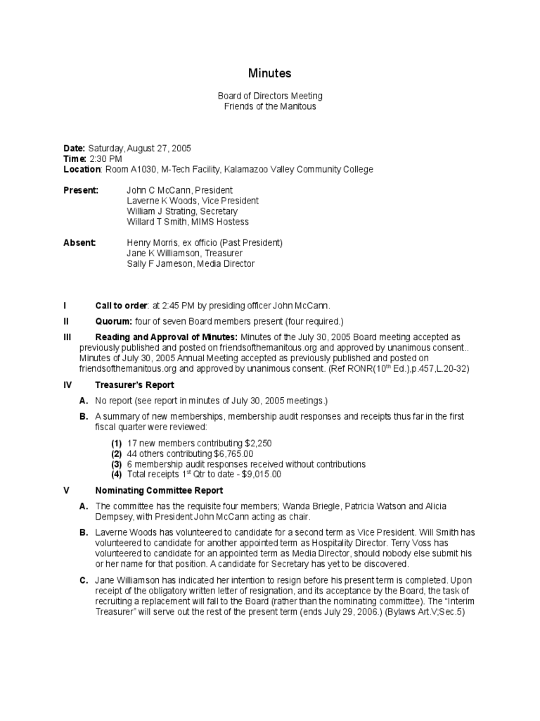 Board meeting minutes template 8 free templates in pdf for Annual board of directors meeting minutes template