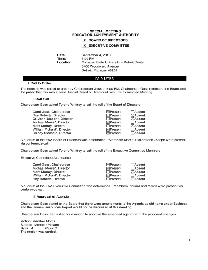 Board meeting minutes template michigan free download for Non profit board meeting minutes template