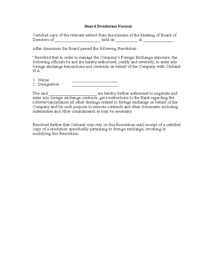 Board Resolution Format Free Download