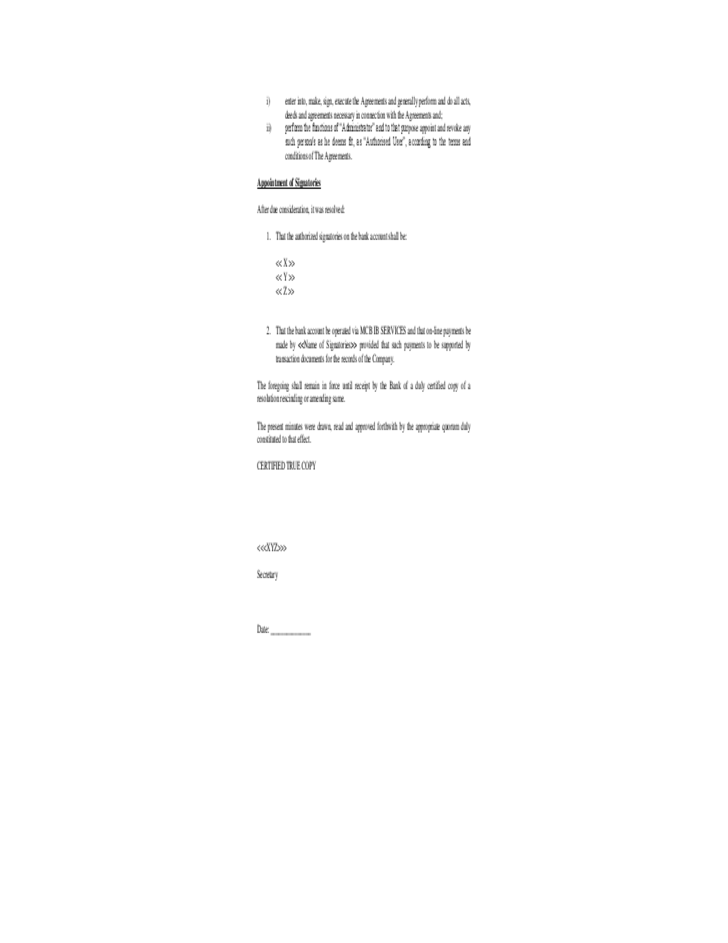Board resolution template free download for Account closure letter template