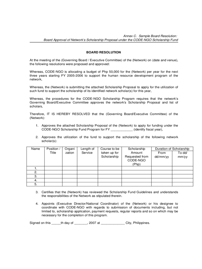 Board resolution template 6 free templates in pdf word for Board resolution template singapore