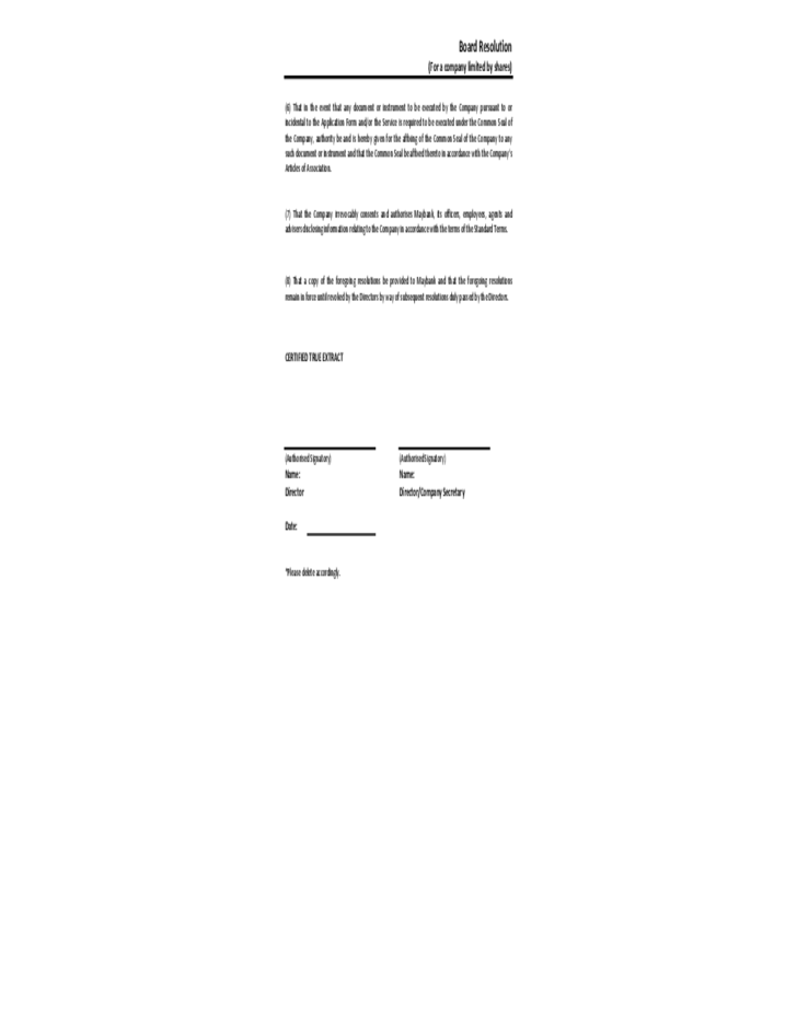 Board resolution sample template free download for Board resolution template singapore