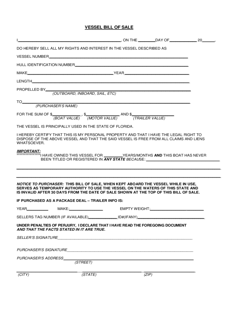 Vessel Bill of Sale Form - Florida