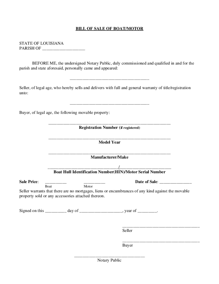 Boat bill of sale form louisiana free download for Tennessee motor vehicle bill of sale