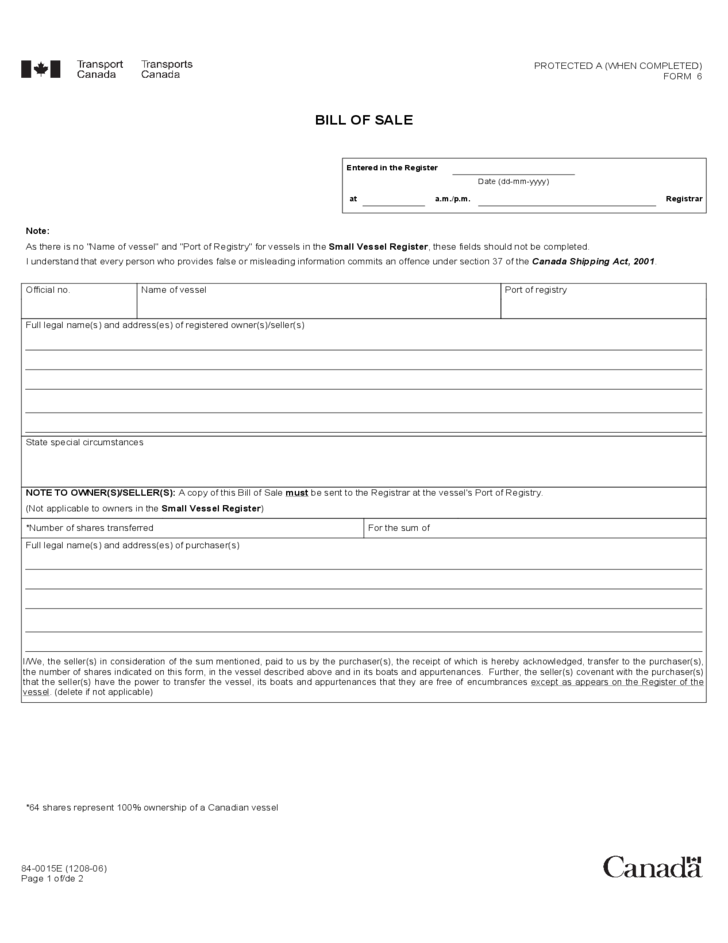Fieldstation.co  Bill Of Sale Template For Boat