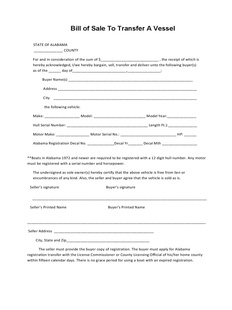Boat Bill of Sale Form - 19 Free Templates in PDF, Word, Excel Download