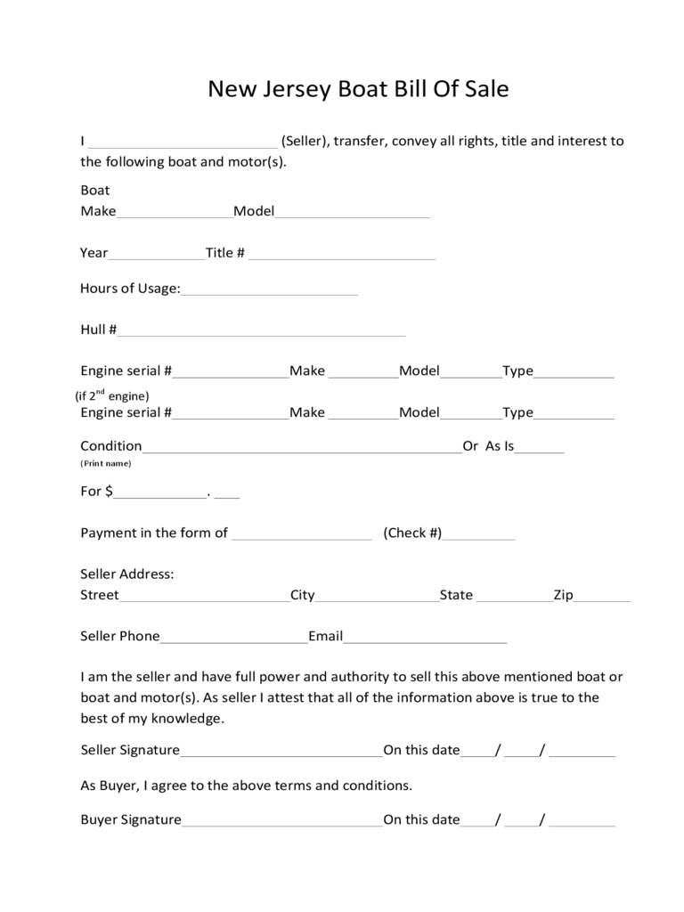 Boat Bill of Sale Form - New Jersey