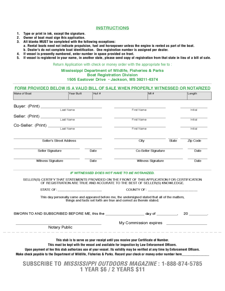 Boat Bill Of Sale Form Mississippi Free Download .