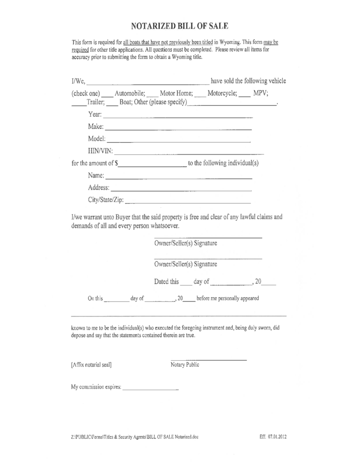 Notarized boat bill of sale form wyoming free download for Outboard motor bill of sale